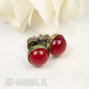 srebrne kolczyki drobinki z czerwonym agatem carmen d107, dla brunetki