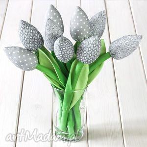 dekoracje tulipany szary bawełniany bukiet, tulipany, kwiaty, dekoracja