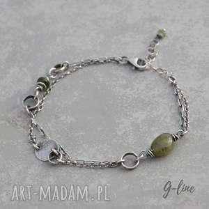 zielony turmalin i szafir, delikatna srebrna bransoletka - srebro, szafir, turmalin