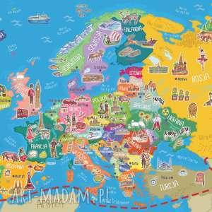 hand-made mapa europy - puzzle magnetyczne