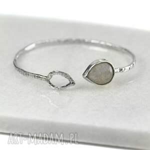 bransoletka z kamieniem księżycowym, obręcz, srebrna