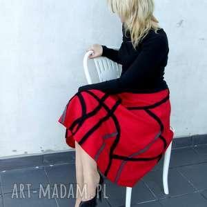 ręczne wykonanie spódnice czerwona midi