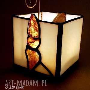 nastrojowy świecznik-lampion handmade wykonany w technice tiffany z prawdziwym