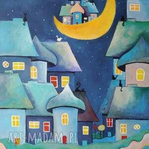 bajkowe miasteczko-obraz akrylowy formatu 40/50 cm, bajka, domki, płótno, obraz