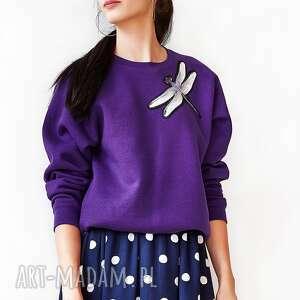 bluzy fioletowa bluza z ważką, bluza, oversize, bawełna, wygodna, haft, ważka