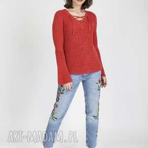 swetry sweter w stylu boho, swe117 koral mkm, dzianinowa, sweterek, wiązany, boho