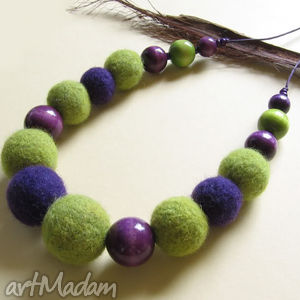zielono fioletowy - naszyjnik, korale, filc