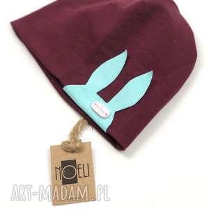 handmade czapki czapka królik bordo