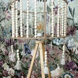 lampa stojąca, podłogowa, trójnóg, drewniana z frędzlami, boho, stojąca