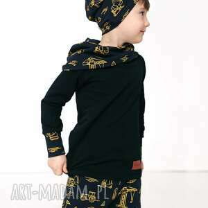 ręcznie wykonane bluza dla dziecka z komino-kapturem pojazdy 116/122