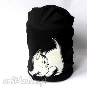 czapka dresowa damska wiosenna z kotem - wiosna, dresowa, dzaininowa, kot, czapka, damska