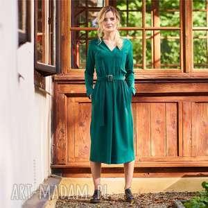 sukienka z paskiem hydra butelkowa zieleń, sukienka, dzianina, bawełna, pasek