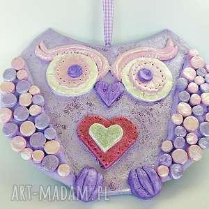 handmade prezent na święta sowa lawendowa. Dekoracja ścienna z kolekcji winter