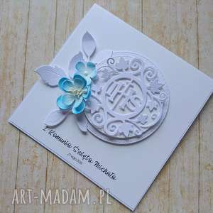 kartka/zaproszenie komunijna biel z kwiatem, komunia, hostia, pamiątka, zaproszenie
