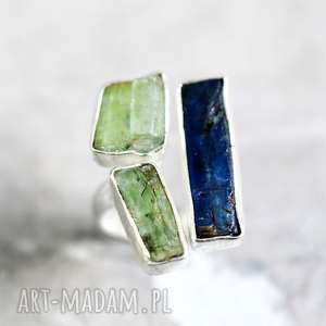 madamlili 925 srebrny pierścionek kyanit & prehnit - minerały