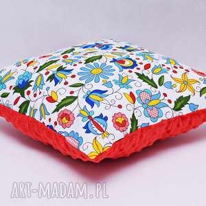 poduszka kaszubska z czerwonym minky, poduszka, regionalna, ludowa, folkowa
