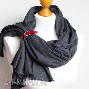 Duży szal bawełniany na jesień z zapinką, modny szalik damski
