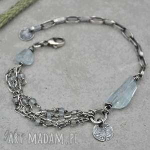 handmade srebrna bransoletka z akwamarynem - 125
