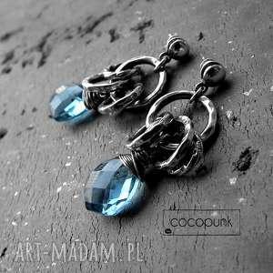 srebro, kwarc london blue- kolczyki koła boho, nowoczesne, srebrne, oksydowane