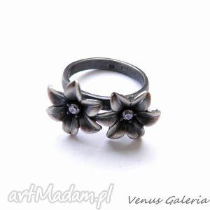 Pierścionek srebrny - Niezapominajki dwie , biżuteria, srebro, pierścionki