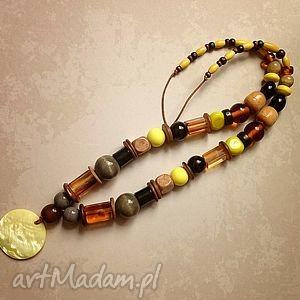 lamma - naszyjnik, perłowa, drewno, szkło, ceramika, wisior