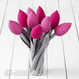 tulipany szaro ciemno różowy bawełniany bukiet, z materiału, bukiet