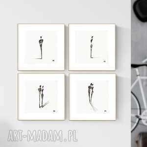 zestaw 4 grafik 20x20 cm wykonanych ręcznie, grafika czarno-biała, abstrakcja