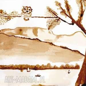 sówka jeziorna - obraz kawą malowany, jezioro, retro