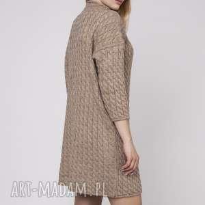 Dzianinowa sukienka, SUK006 mocca MKM, dzianinowa, prosta, dzianina, wzór, tunika