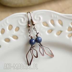 listeczki - kolczyki z lapis lazuli, delikatne kolczyki, miedzi