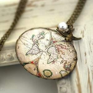 Obieżyświat V łańcuszek vintage, glob, mapa, świat, zawieszka