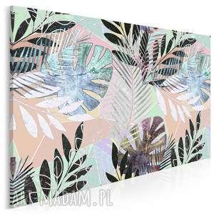 obraz na płótnie - liście egzotyczny tropikalny 120x80 cm 79801
