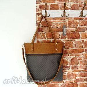 shopper bag z kieszenią, torba, szara, brązowa, modna, torebki