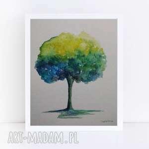 kolorowe drzewo-akwarela formatu a5, akwarela, papier, farby, drzewo, kredki