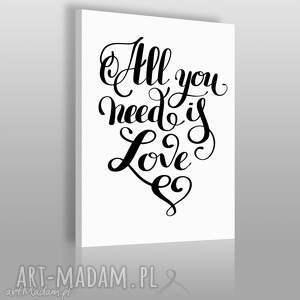 obrazy napis na płótnie - all you need is love 50x70 cm 56829, napis, tekst