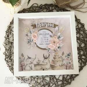 wyjątkowa romantyczna metryczka w różu, metryczka, prezent, urodziny, kwiaty
