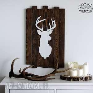 dekoracje jeleń na deskach, jeleń, dekoracja, ścienny, poroże, panel, drewniane