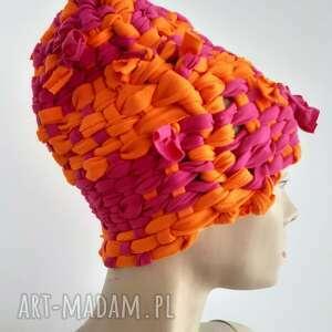 prezent na święta, czapka tkana kolor#4, kolorowa czapka, unikat, tkana, fluo