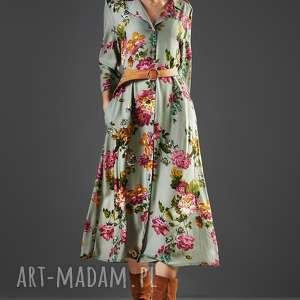 szmizjerka midi w kwiaty paloma, sukienka, midi, uniwersalna, kwiaty, wiskoza