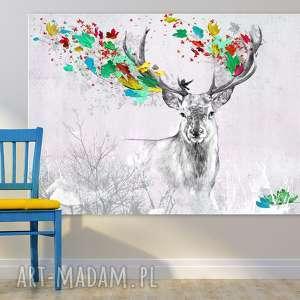 Obraz na płótnie - 120x80cm JELEŃ JESIENIĄ 02271 wysyłka w 24h, jeleń, jesień