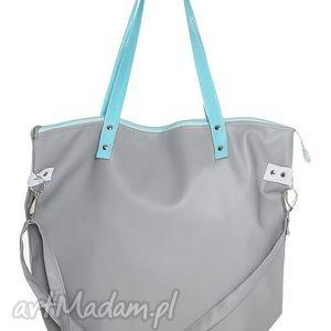 worek waterproof grey aquamarine, mana-mana, pojemna, nowoczesna, ekoskóra