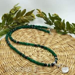 naszyjnik srebrny z motywem gór - jadeit i onyks, góry, celebrytka