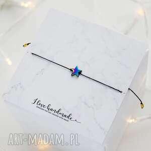 bransoletka czarny sznureczek z gwiazdką hematytu, na sznureczku
