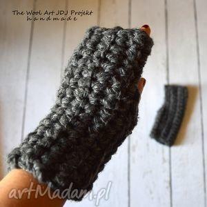 grube mitenki rezerwacja - rękawiczki, mitenki, szare, grube