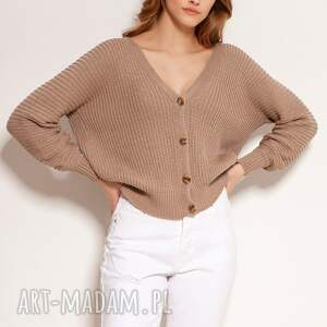 ręcznie zrobione swetry bawełniany sweter na guziki - swe142 mocca