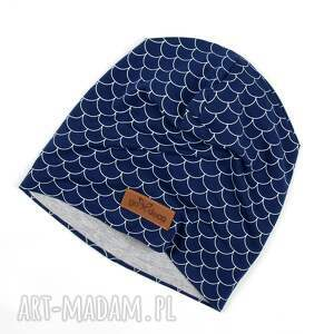 czapki ciepła czapka beanie granatowa, czapka, beanie, łuski, ciepła, prezent