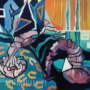 dekoracje obraz olejny meduzy niebieskie ii, dekoracja ścienna
