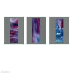 ajan art chwilę po zachodzie - akwarele abstrakcje 3x 13x18cm