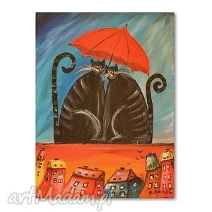 Koty Under My Umbrella, kot, obraz, dziecko, dzieciecy