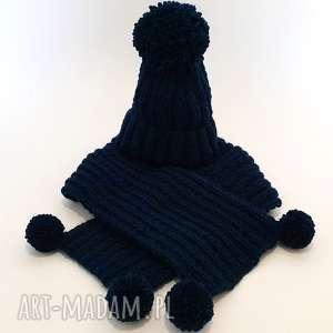 HANDMADE Dziecięcy komplet wełniany CZAPKA SZALIK, czapka, szalik, pompon, ciepły